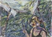 031 Selbstporträt am Wasser, Santorin 1985