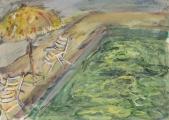 054 Sonnenschirm am Pool, Santorin 1985