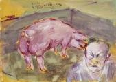 116 Bauer Hofer mit-Schwein, 1984